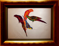 "Painted Birds/ Etching with Embossing/29""X41"" unframed $1300/ 42""X53"" framed $1900/ Free Shipping to USA"