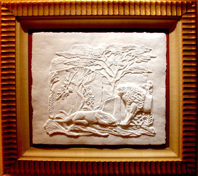 "Assyrian Wall/ Paper Cast/ 28""X34"" unframed $1600/ 43""X49"" framed $ 2200/ Free Shipping to USA : Exotic Animals : Jonna White Gallery"